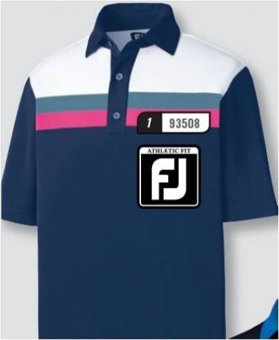 FJ Pique Color Block w/ Chest Stripes Self Collar Model 93508 Navy