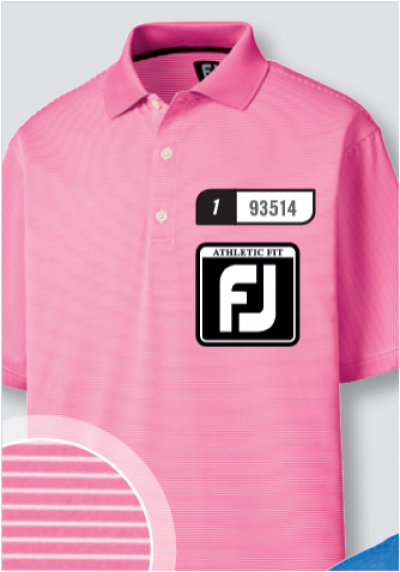 FJ Lisle Micro Stripe Knit Collar Model 93514 Island Pink