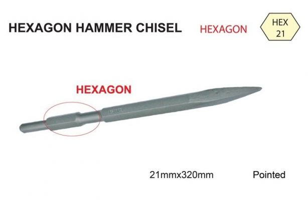 21 X 320 [POINT] HEXAGON HAMMER CHISEL - 00666G