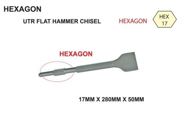 17 X 280 X 50MM [FLAT] HEXAGON HAMMER CHISEL - 00666Z