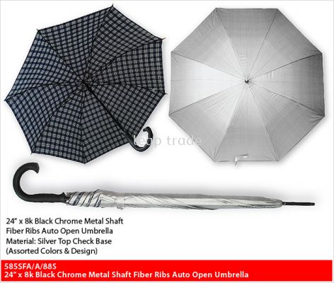 24�� x 8k Black Chrome Metal Shaft Fiber Ribs Auto Open Umbrella
