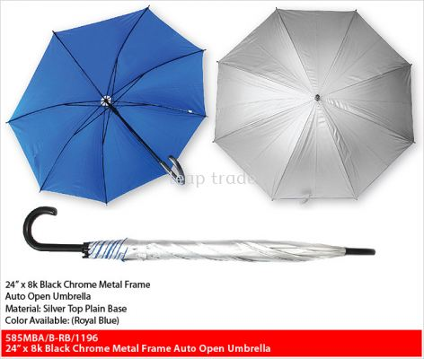 24�� x 8k Black Chrome Metal Frame Auto Open Umbrella