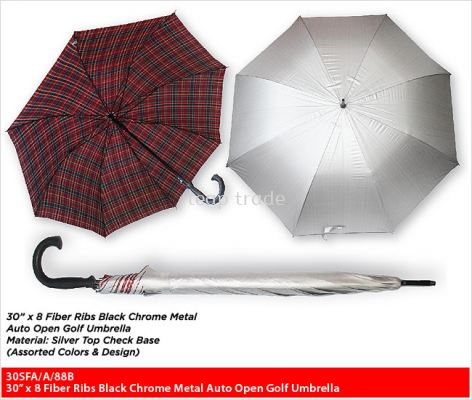 30�� x 8 Fiber Ribs Black Chrome Metal Auto Open Golf Umbrella