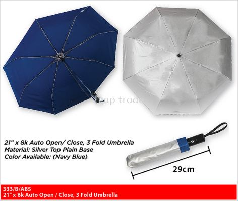 "21"" x 8K Auto Open/Close, 3 Fold Umbrella"