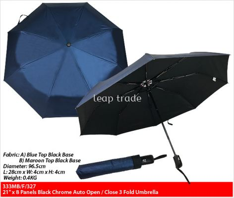 "21"" x 8 Panels Black Chrome Auto Open/Close 3 Fold Umbrella"