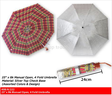 "23"" x 8k Manual Open, 4 Fold Umbrella"