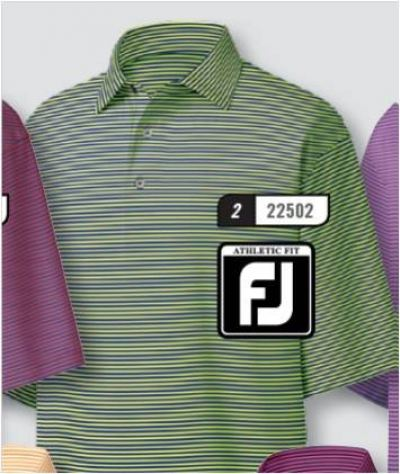 FJ MODEL 22502 Stretch Lisle Feeder Stripe, Self Collar Green Apple/Midnight Blue