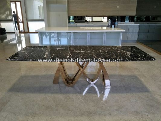 Modern Marble Dining Table - Marrone Marble