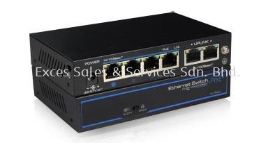 4-Port PoE + 2nos 100Mbps Uplink (Model : IPS-104P-II)