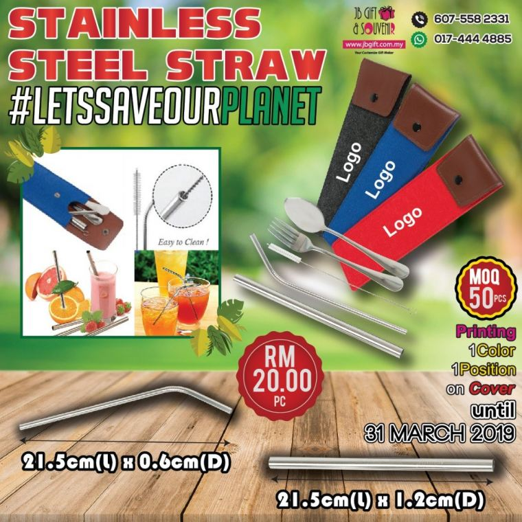 Promo Stainless Steel Straw With Fork & Spoon
