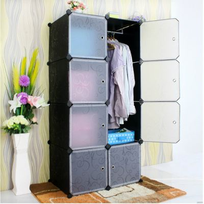 Portable DIY Design Stackable 8 Cube Storage Cabinet Stackable Wardrobe Storage (Black) with Free 1 Hanging Rod (Black)