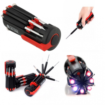 Professional 8 in 1 Mini Screwdriver Set with 6 LED Torch