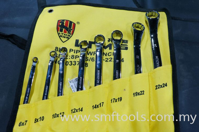 SMFTOOLS 8Pcs 45° DOUBLE OFFSET RING WRENCH WRENCH WRENCH SERIES