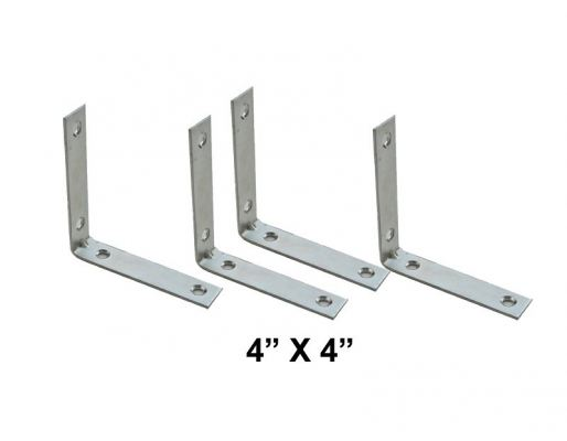 """4"""" X 4"""" CHROME L BRACKET [1 PK= 4 PCS] - 00553G"""