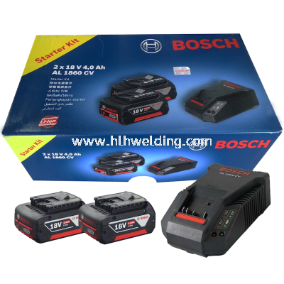 Bosch Li-Ion Battery 18Vx4.0Ah(2pc) & Fast Charger AL1860CV Set