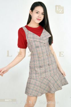 88673 CONTRAST PLAID RUFFLE DRESS【ONLINE EXCLUSIVE 35%】