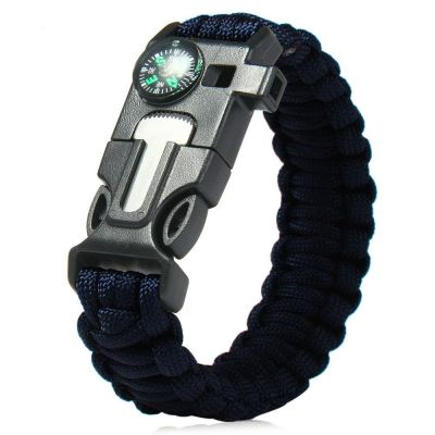 5 in 1 Outdoor Survival Paracord Bracelet-Flint Starter, Compass, Whistle, Paracord Rope (Blue)