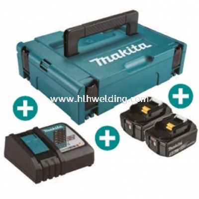 Makita Battery Kit18V5.0Ah x 2pc, Fast Charger x 1pc MKP1RT182