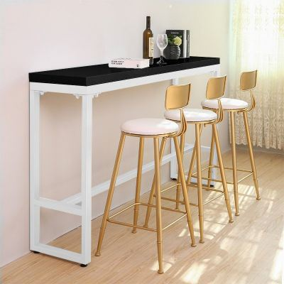 ACCENT White Steel Leg Melamine Board Bar Table (Black)