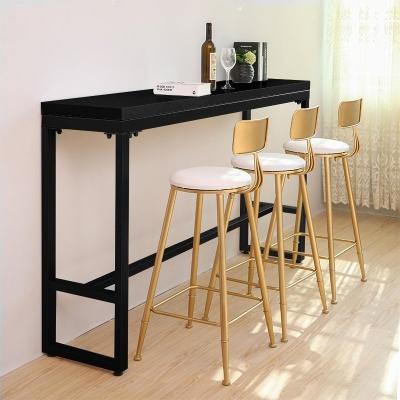ACCENT Black Steel Leg Melamine Board Bar Table (Black)