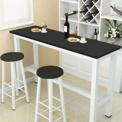 CIEL White Steel Coffee High Table Long Bar Table with 2 Chair