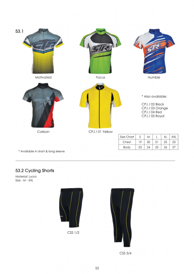 CYCLING ATTIRE (DRY FIT)