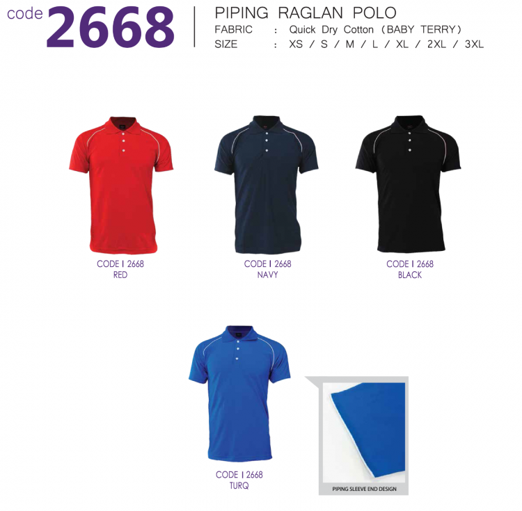 PIPING RAGLAN POLO (QUICK DRY COTTON)