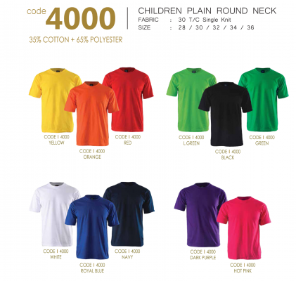 CHILDREN PLAIN ROUND NECK (35% COTTON; 65% POLYESTER)