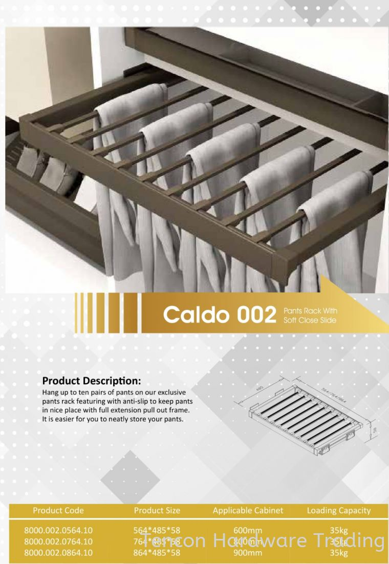 CALDO 002 PANTS RACK WITH SOFT CLOSE SLIDE 8000 SERIES CALDO WARDROBE ACCESSORIES Lufi Wardrobe Series