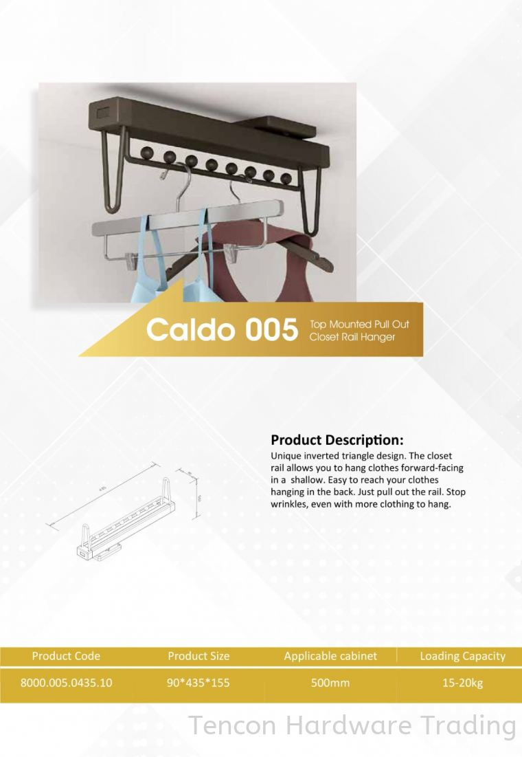 CALDO 005 TOP MOUNTED PULL OUT CLOSET RAIL HANGER 8000 SERIES CALDO WARDROBE ACCESSORIES Lufi Wardrobe Series