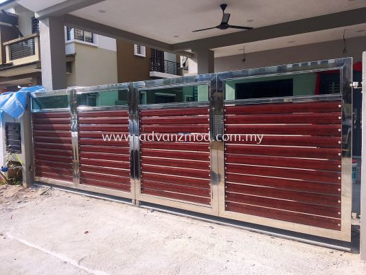 Stainless Steel Folding Gate With Aluminium Panels & Tempered Glass