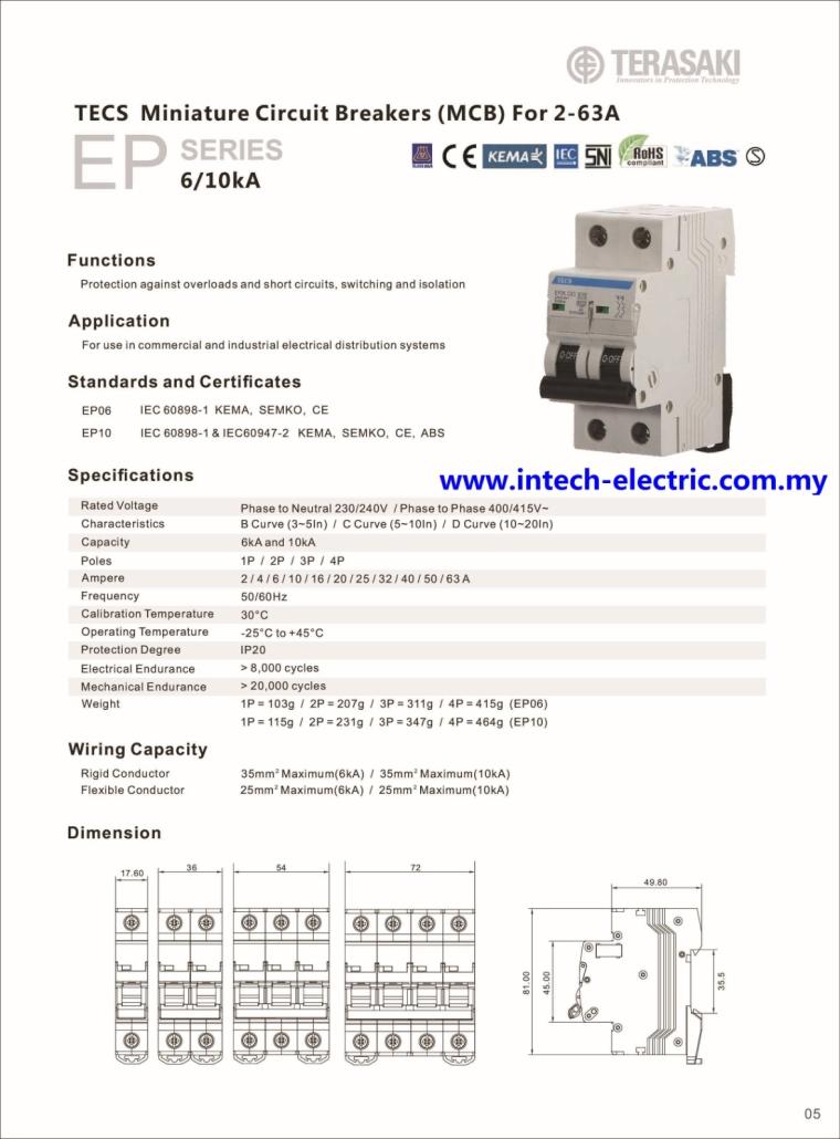Terasaki TECS - DIN Modular 10KA,6KA(80A,100A,125A) B,C,D Curve 2Pole MCB Terasaki Breaker  Breaker