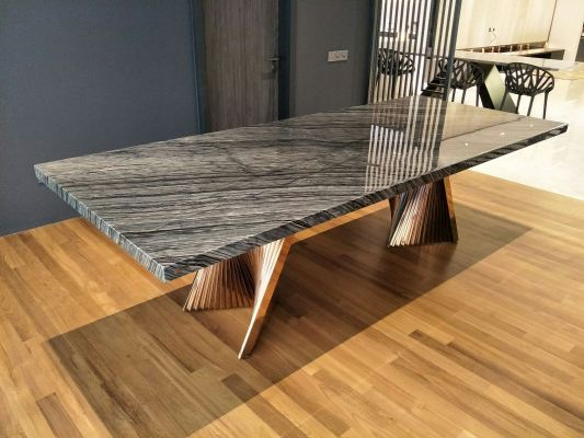 Wood Texture Marble Dining Table