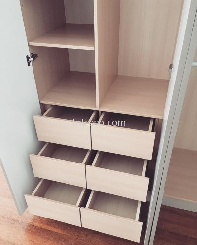 Custom made Wardrobe with Plywood laminate door + Melamine Abs carcass