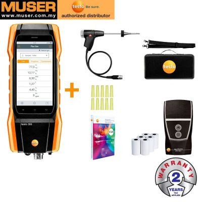 Testo 300 Kit 1 with Printer | Flue Gas Analyzer (O2, CO up to 4,000 ppm)