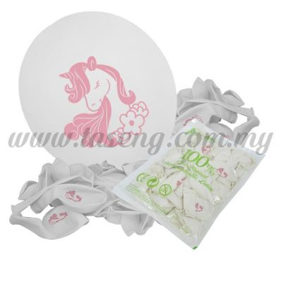 12inch Unicorn 1 Side Printed Balloons 50pcs - White (B-SR12-UN50-W)