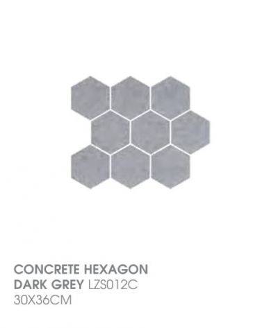Concrete Hexagon Dark Grey LZS012C
