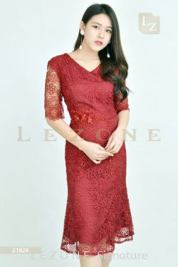 21828 LACE OVER LACE MIDI DRESS【Online Exclusive Promo 41% OFF】