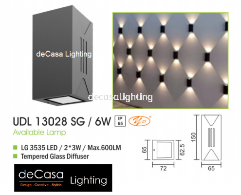 OUTDOOR WALL LIGHT UDL 13028 SG 6W
