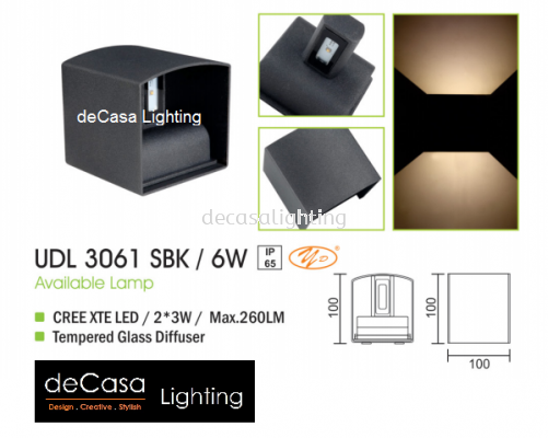 OUTDOOR WALL LIGHT UDL 3061 SBK 6W