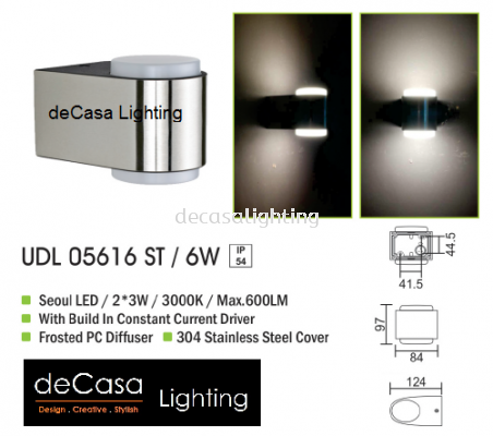 OUTDOOR WALL LIGHT UDL 05616 ST 6W