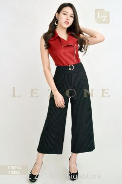 10222 PLUS SIZE STRIPED CULOTTES【1ST 10% 2ND 15% 3RD 20%】