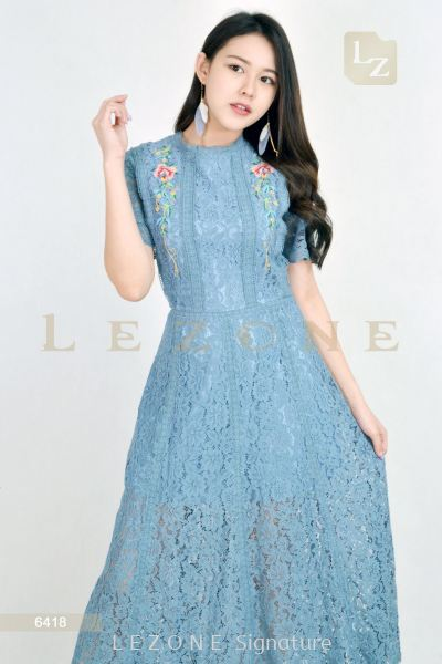 6418 LACE EMBROIDERED FLORAL MAXI DRESS��BIG SALE 50%��