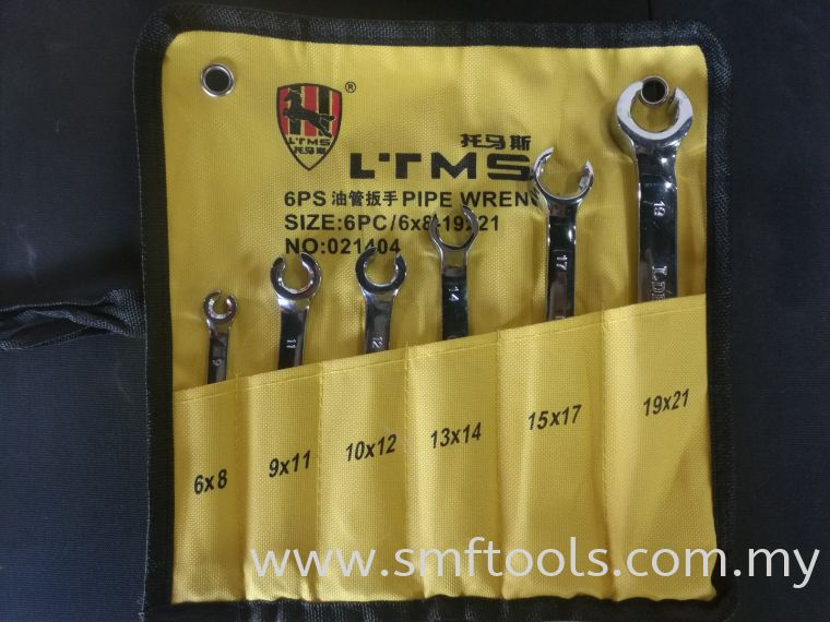 SMFTOOLS 6Pcs Brake Oil Pipe Wrench 6x8-19x21 FLARE NUT WRENCH BRAKE SERVICE TOOL