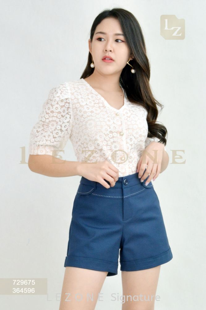 729675 LACE V-NECK BLOUSE【AS IS RM25】
