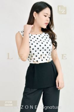 21238 POLKA DOT SLEEVELESS BLOUSE【BUY 2 FREE 3】