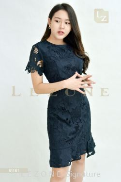 81161 LACE OVERLAY FLORAL DRESS【BUY 2 FREE 3】