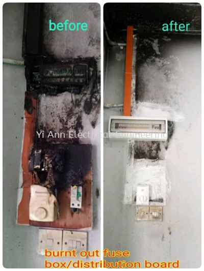 Replace burnt out fuse box / distribution board
