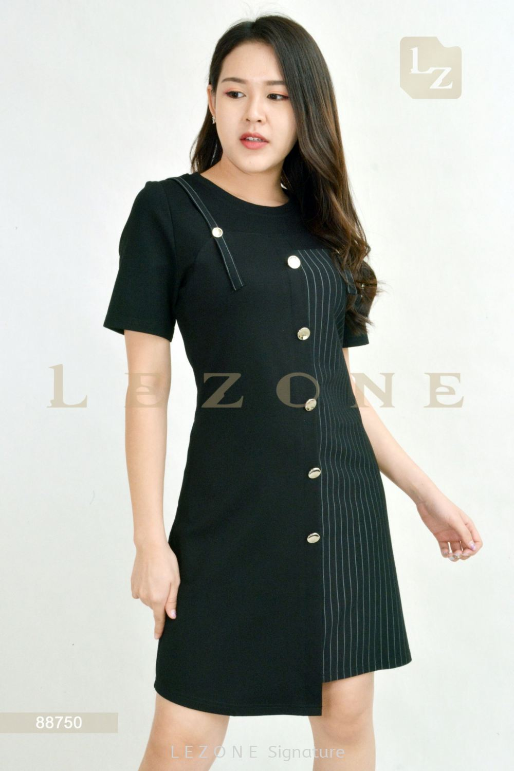 88750 STRIPED BUTTON DETAIL DRESS Sleeved Dresses D R E S S Selangor, Kuala Lumpur (KL), Malaysia, Serdang, Puchong, Cheras Supplier, Suppliers, Supply, Supplies | LE ZONE Signature