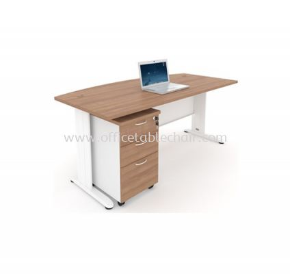 EXECUTIVE TABLE D SHAPE METAL J-LEG C/W STEEL MODESTY PANEL & MOBILE PEDESTAL 2D1F MJME 1890